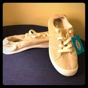 Tan canvas slip-on sneakers